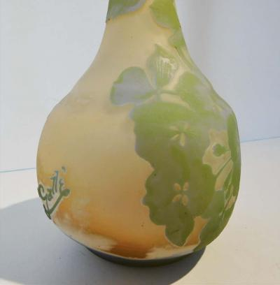 mile Gall Emile Galle Tall Bud Vase in Triple Overlay and Etched Art Nouveau Glass