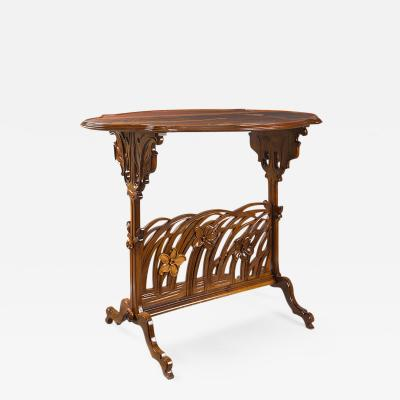 mile Gall French Art Nouveau Marquetry Narcissus Side Table by Emile Gall