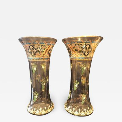 mile Gall Pair of Antique Palatial French Jeweled Vases or Urns Emile Galle Style