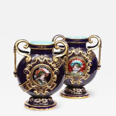 mile Gall Rare Pair of Emile Galle Cobalt Blue Porcelain Limoges Enamel Portrait Vases