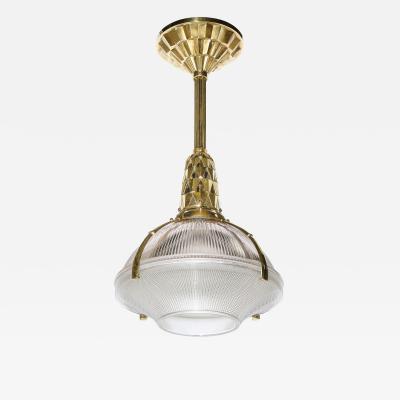mile Jacques Ruhlmann Art Deco Cubist Bronze Prismatic Glass Holophane Chandelier by E J Ruhlmann