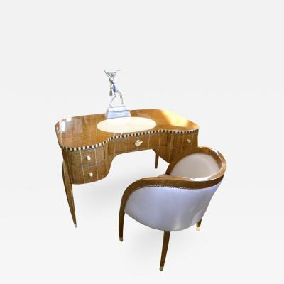 mile Jacques Ruhlmann Art Deco Desk and Chair in the Style of Ruhlmann