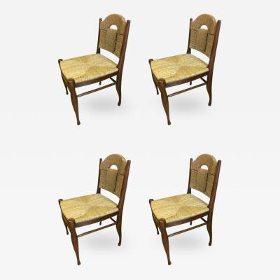 mile Jacques Ruhlmann J E Ruhlmann Rare Set of Four Chairs Model Rendez vous des p cheurs de truite