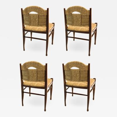 mile Jacques Ruhlmann J E Ruhlmann Rare Set of Four Chairs Model Rendez vous des p cheurs de truite