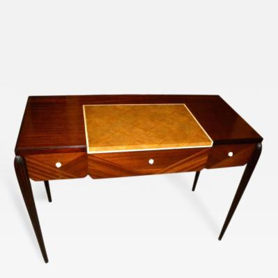 mile Jacques Ruhlmann Petite Art Deco Desk Vanity Ruhlmann Style Mahogany Shagreen Bone Inlay