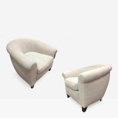 mile Jacques Ruhlmann Ruhlmann Style 1930s Extreme Comfort Pair of Club Chair Covered in Boucle Cloth