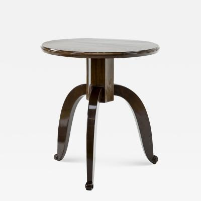 mile Jacques Ruhlmann Style of Ruhlmann mahogany side table with a mother of pearl insert