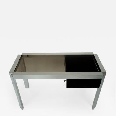 tienne Fermigier Single Drawer Nickel Chromed Steel and Aluminium French Desk tienne Ferminger