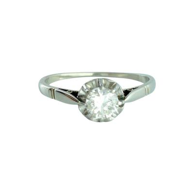 0 43 Carat Round Diamond Platinum French Solitaire Ring