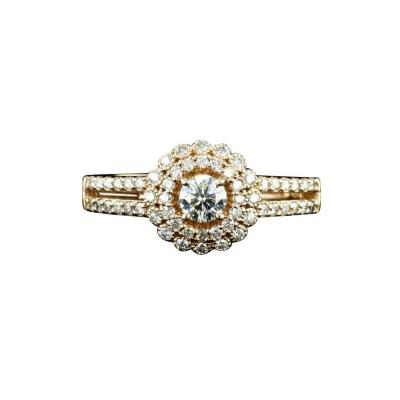 0 60 Carat Diamond halo engagement ring with Rose Gold