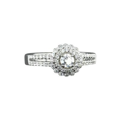 0 60 Carat Diamond halo engagement ring with White Gold