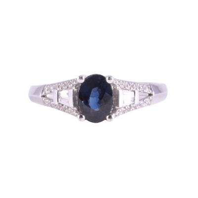 0 80 Oval Sapphire and Diamond Ring