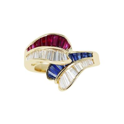 0 85 CT RUBY 0 85 CT SAPPHIRE AND 0 85 CT DIAMOND OVERLAPPING RING 18K GOLD