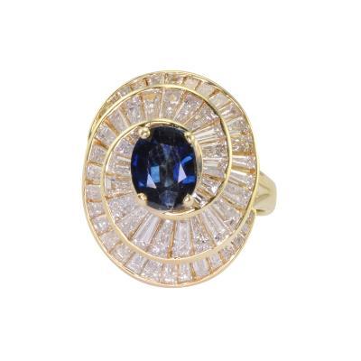 0 96 Carat Sapphire and 2 70 CTW Diamond Ring