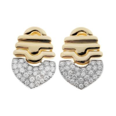 1 00 Carat Pave Diamonds Gold Dangle Earrings circa 1970s