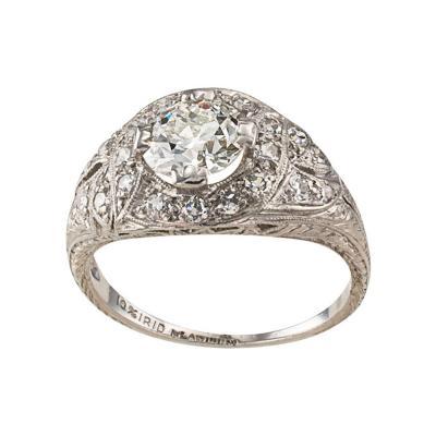 1 03 Carats G VVS2 Art Deco Engagement Ring