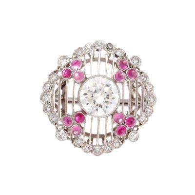 1 08 Carat Diamond Ruby Platinum Engagement Ring