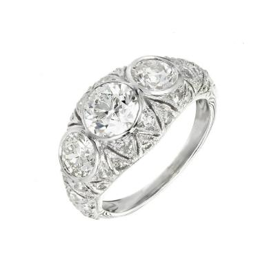 1 12 Carat Art Deco Old European Cut Diamond Platinum Engagement Ring