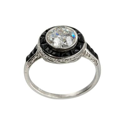 1 13 Carat Diamond and Onyx Art Deco Ring