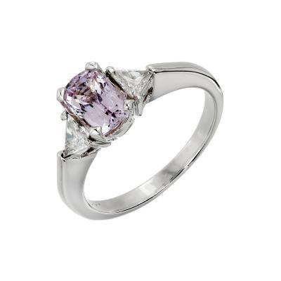 1 20 Carat Natural Light Purple Spinel Diamond Platinum Engagement Ring