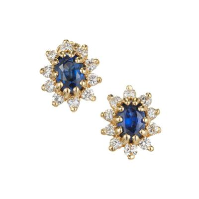 1 20 Carat Oval Sapphire Diamond Halo Gold Earrings