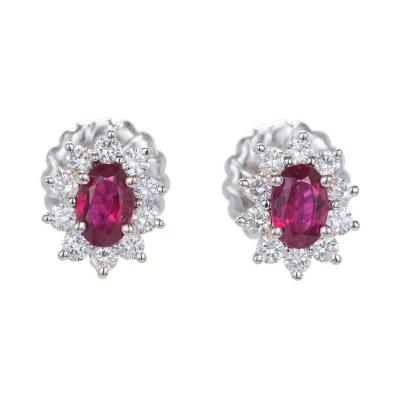 1 30 Carat GIA Certified Ruby Diamond Halo Gold Cluster Earrings