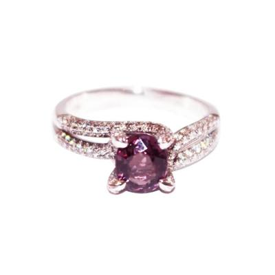 1 5 CT Amazing Natural Pink Spinel and Diamond Ring in 18KT White Gold