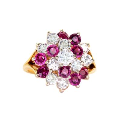 1 50 CTW Diamond and 1 35 CTW Ruby Cocktail Ring