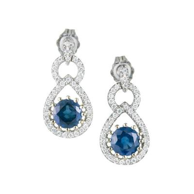 1 50 Carat Natural Sapphire Diamond Gold Dangle Earrings
