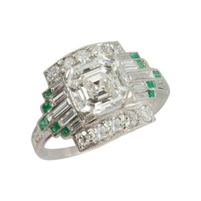 1 51 Carat Asscher Cut Diamond Engagement Ring with Emerald Accents