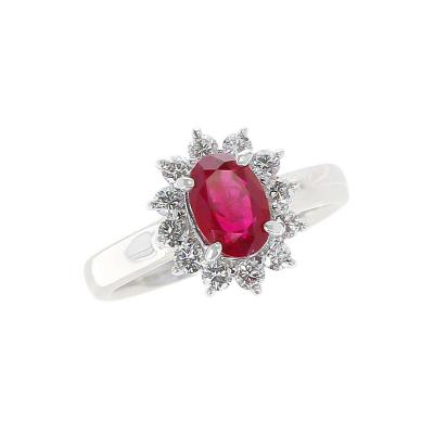 1 54 Carat Oval Ruby Engagement Ring with Diamond Halo Platinum