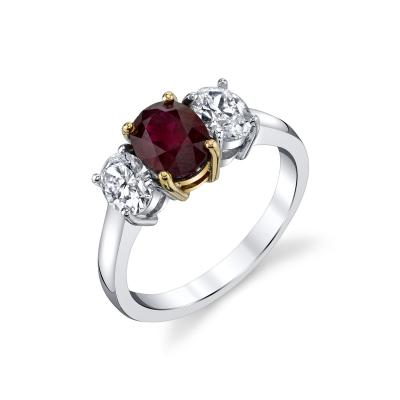 1 68 Carat Burmese Ruby and Diamond Engagement Ring 18k White Gold