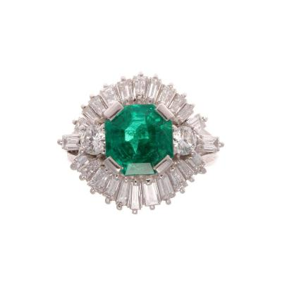1 68 Carat Forest Green Colombian Emerald Diamond Ring