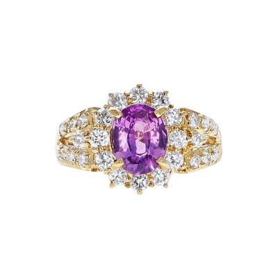 1 72 CT OVAL PINK SAPPHIRE AND 1 30 CT DIAMOND RING 18K YELLOW GOLD