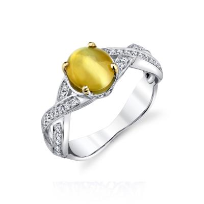1 73 Carat Oval Cats Eye Chrysoberyl Cabochon and Diamond 18k White Gold Ring