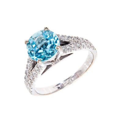 1 80 Carat Natural Aqua Diamond White Gold Engagement Ring