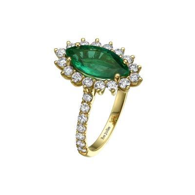 1 90 Carat Marquise Cut Emerald and Diamond Ring