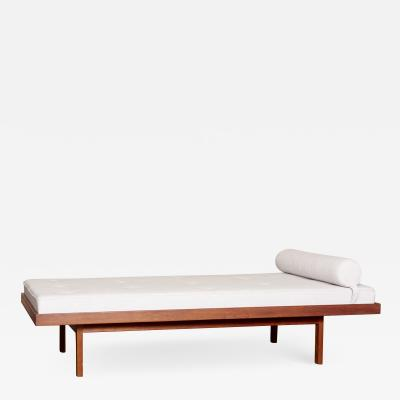 1 of 2 American Studio Walnut Frame Daybeds in Mark Alexander Fabric US 1960s