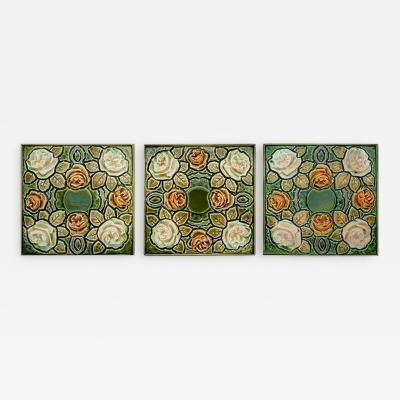 1 of the 64 Antique Glazed Art Nouveau Tiles circa 1920