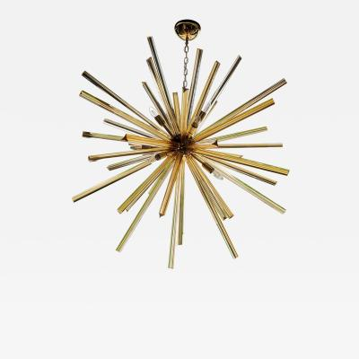 1 or 2 Huge Brass and Amber Murano Glass Sputnik Chandelier Venini Style