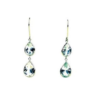 10 5CT Aquamarine Drop Earrings 18KT Yellow Gold
