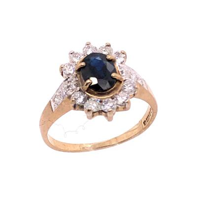10 Karat Yellow and White Gold Onyx Solitaire Ring with Diamond Accents
