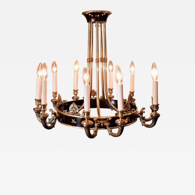 10 Light Jansen Style Brass Chandelier France circa 1940