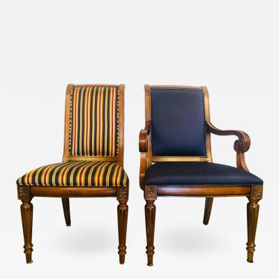 10 Louis XVI Style Custom Quality Upholstered Dining Chairs 8 Side 2 Arm