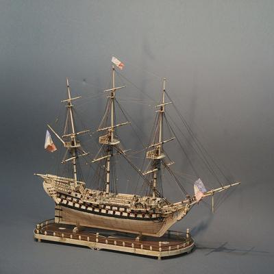 French Warship Sailing Model Napoleonic Prisoner of War of 74 Guns c 1800