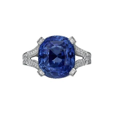 11 01 Carat Blue Sapphire and Diamond Ring GRS Certified
