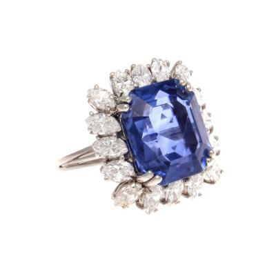 11 76 Carat AGL Ceylon Sapphire Diamond Platinum Ring