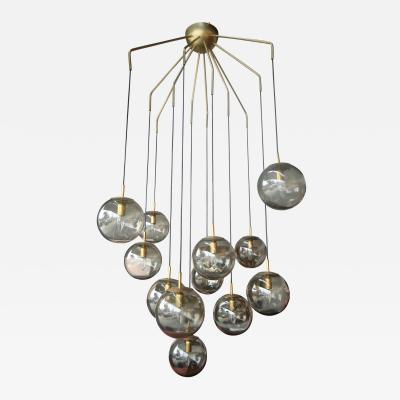 12 Ball Smoked Glass Murano Chandelier