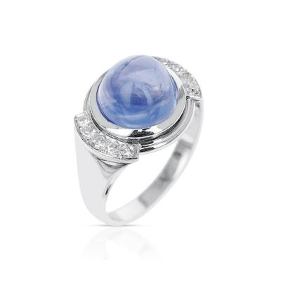 12 CT UNHEATED CEYLON SAPPHIRE CABOCHON RING WITH DIAMONDS PAPERWORK INCL