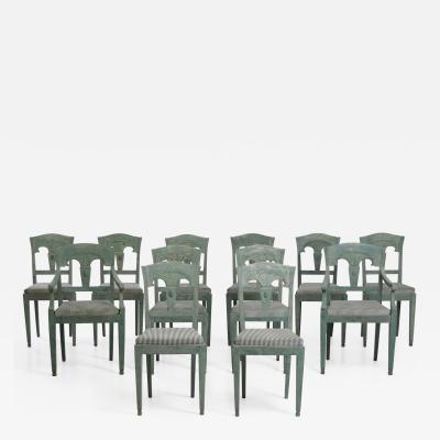 12 Gustavian style chairs scraped down to original paint 19th C